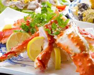 屋形船 なわ安 宴会料理タラバ蟹の盛り合わせ